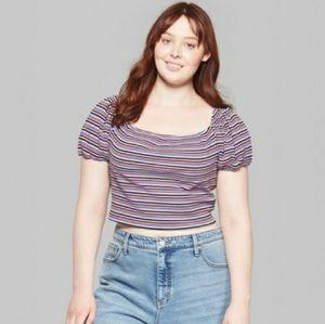 New Womens Plus Size Striped Crop Top Blouse Shirt